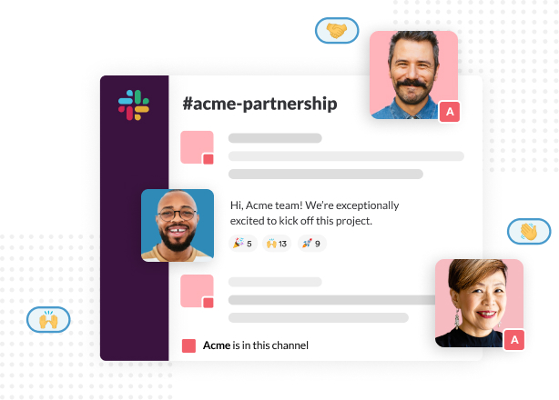 A shared channel where someone is greeting people from their partner company