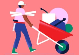Person with wheelbarrow full of abstract shapes representing Workflow Builder steps