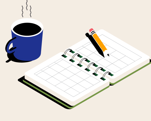 Uma xícara de café e uma agenda