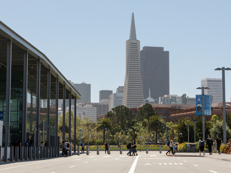 A view of the Slack Frontiers venue with San Francisco's distinctive TransAmerica Pyramid building rising in the background.