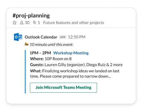 Jump from Slack straight into a meeting