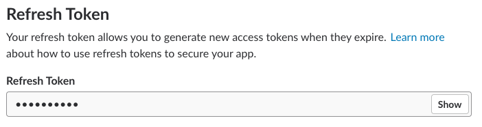 OAuth settings in app mgmt displaying the refresh token field