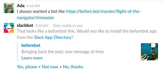 An example app suggestion for a bot called @beforebot.