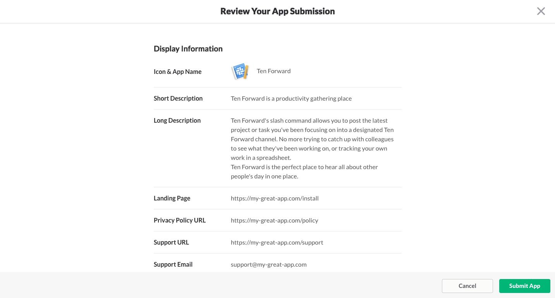 Your app's configuration