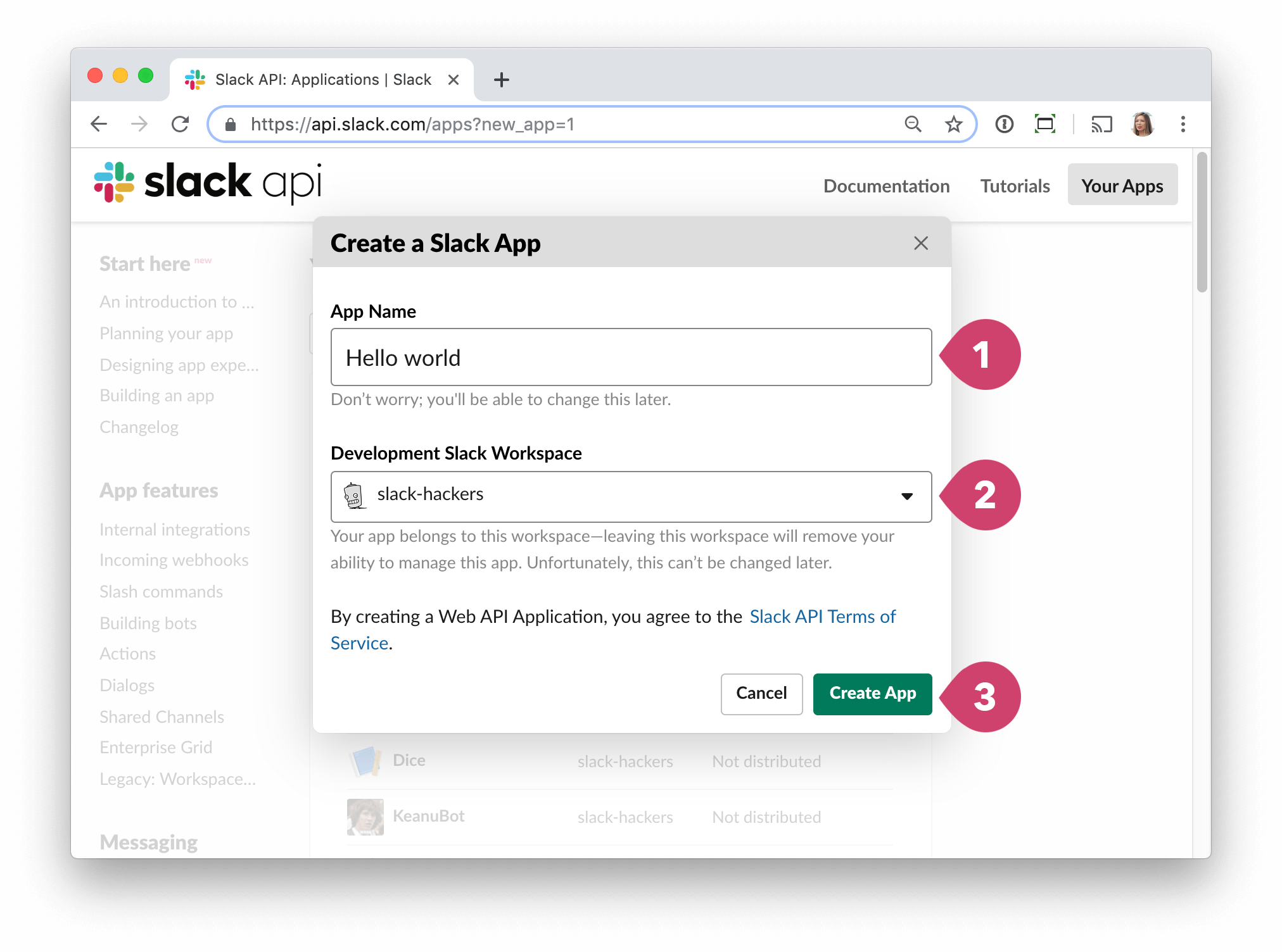 screen -  Slack config create a slack app