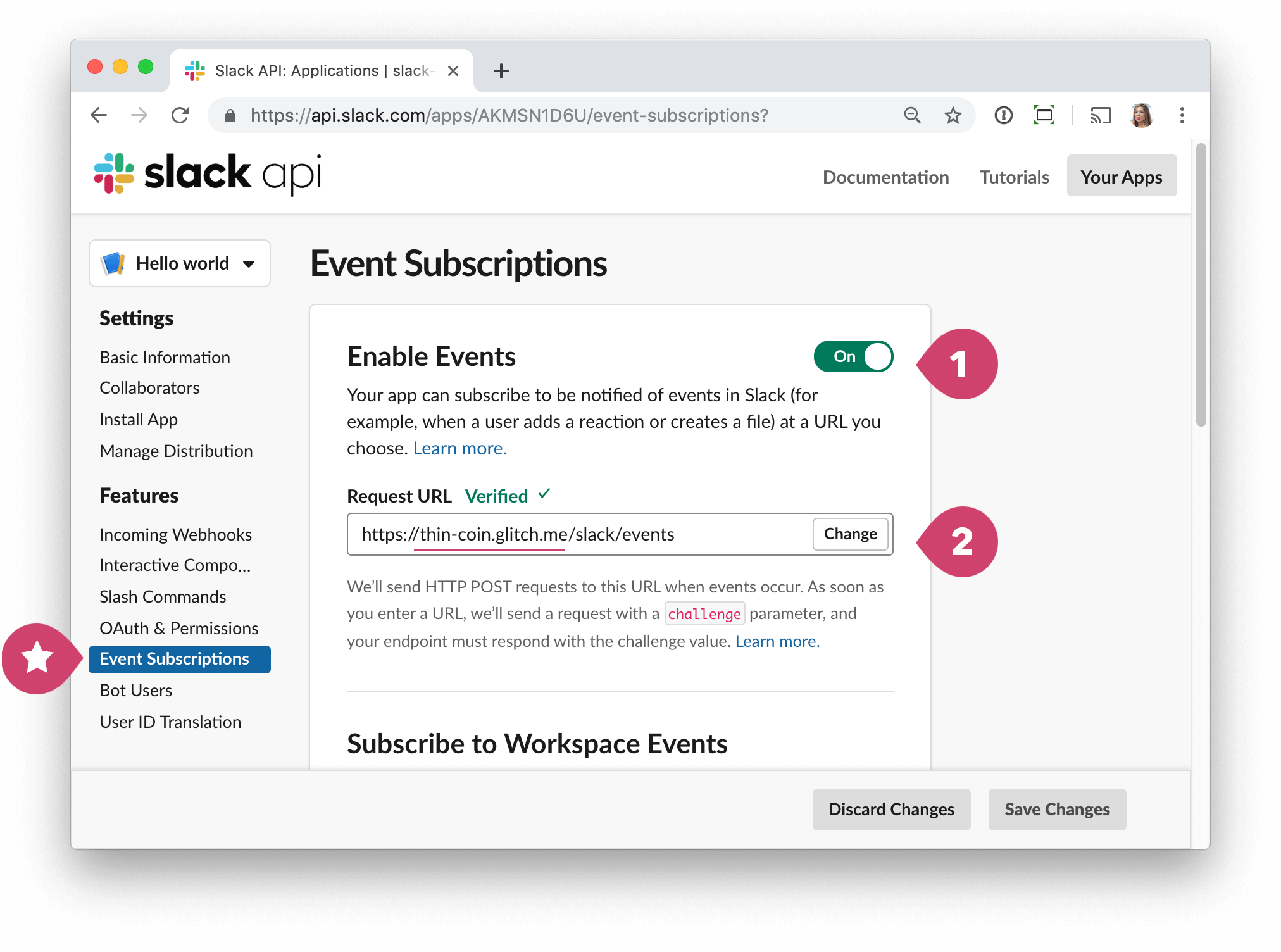 screen - slack config enable events