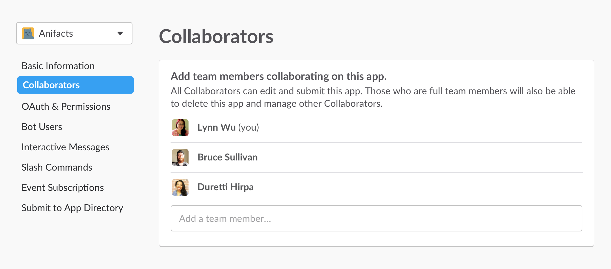 A list of App Collaborators
