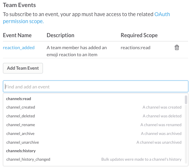 The event subscription configuration process
