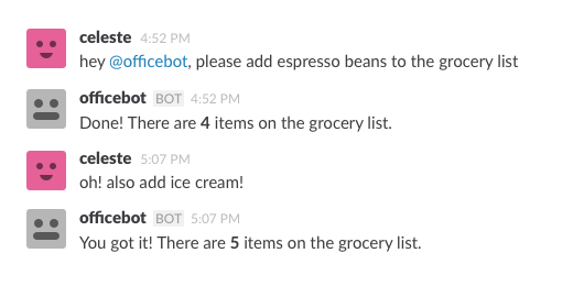 A conversation between @celeste and @officebot