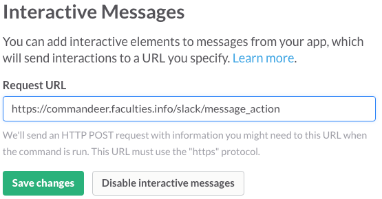 A screenshot of the message actions configuration dialog