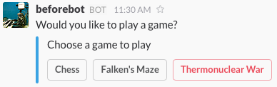 An interactive message containing a list of games to play