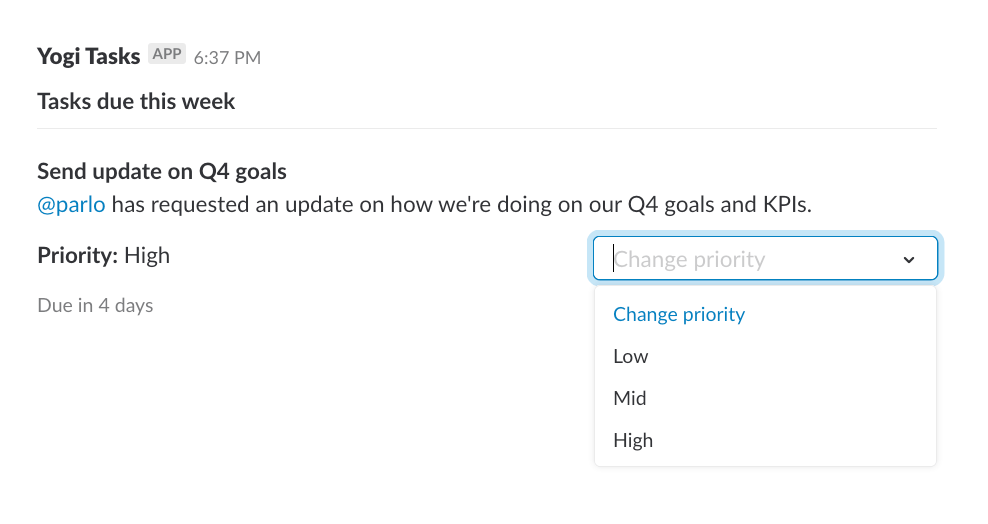 A select menu in a Slack message showing the ability to change the priority of a task