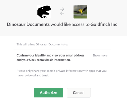 Sign in with Slack approval process screenshot