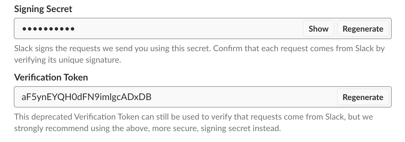 Admin page with signing secret and verification token