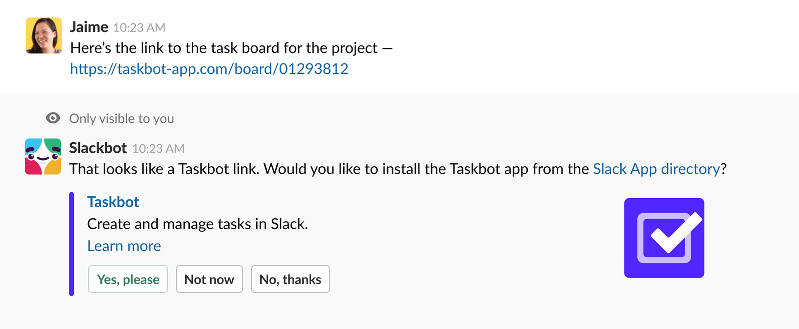 user posting taskbot link, response from slackbot to install taskbot