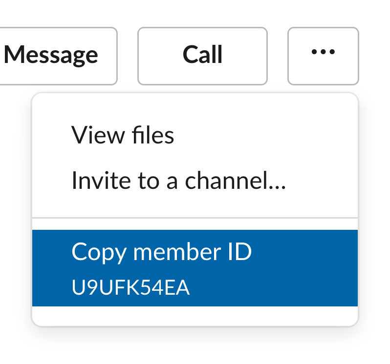 Menu showing user ID in Slack profile