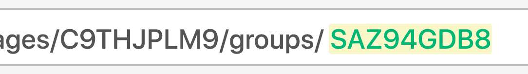 URL bar showing user group ID highlighted in green and yellow