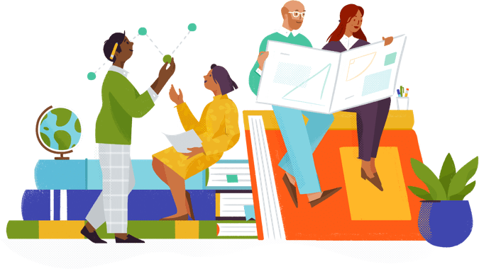 Illustrated Slack interns working while sitting on giant books