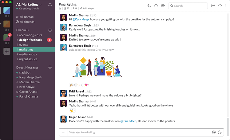 Screenshot of the Slack app