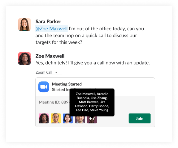 A simulated screenshot shows a Zoom meeting recording being shared via Slack