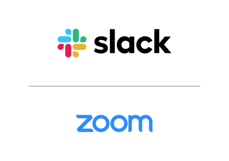 Logotipo do Slack na posição vertical sobre o logotipo do Zoom