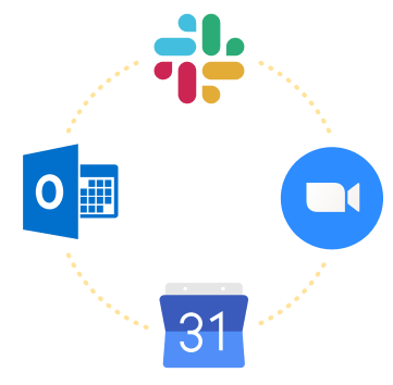 A dashed line connects four icons symbolizing Google Calendar, Outlook Calendar, Zoom, and Slack