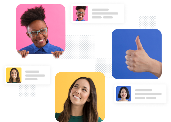 Two teammates talking while surrounded by stylized Slack messages and a hand mimicking the thumbs-up emoji
