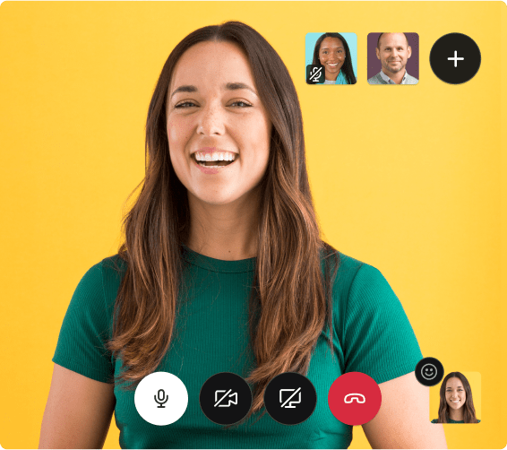 In a simulated screenshot, a woman happily collaborates with two coworkers on a video call.