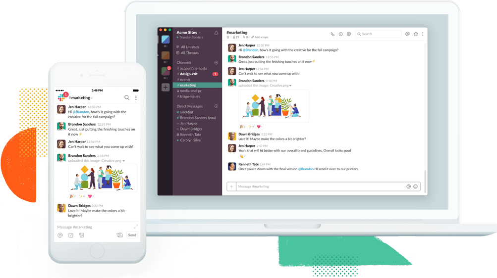 Slack workspaces are available on your laptop and phone