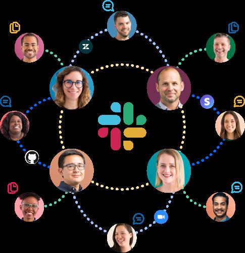 Symbole von Personen, Apps, Nachrichten und Dateien, die über das Slack-Logo miteinander verbunden sind.