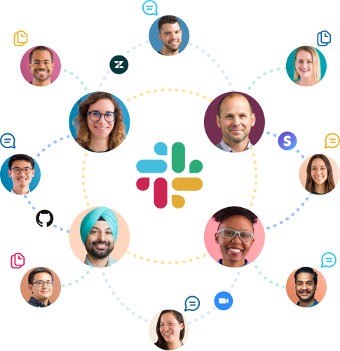 Icons of people, apps, messages and files connected to each other around the Slack logo.