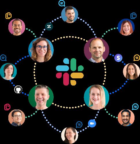 Iconos de personas, aplicaciones, mensajes y archivos conectados entre sí alrededor del logotipo de Slack.