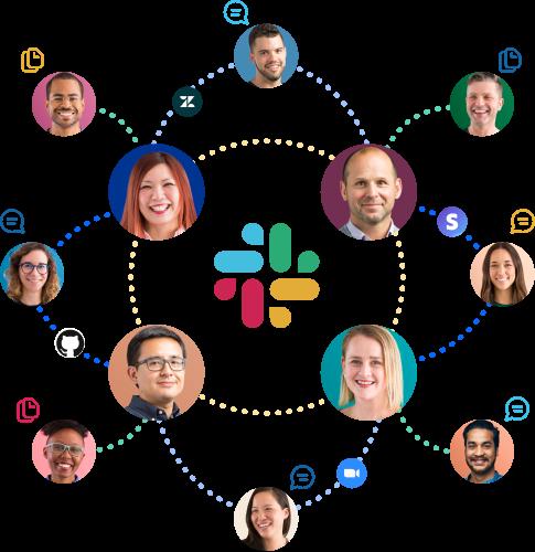 Íconos de personas, aplicaciones, mensajes y archivos conectados entre sí alrededor del logotipo de Slack.