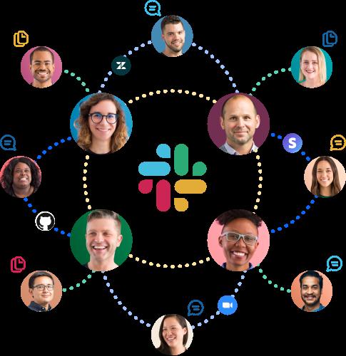 Des icônes représentant des personnes , des applications, des messages et des fichiers interconnectés autour du logo Slack.