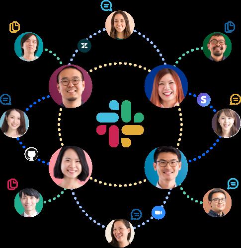 Slack のロゴの周囲で互いに接続されたメンバー、アプリ、メッセージとファイルのアイコン。