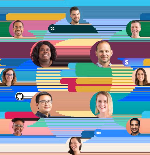 Ícones de pessoas, apps, mensagens e arquivos conectados uns aos outros ao redor do logotipo do Slack.