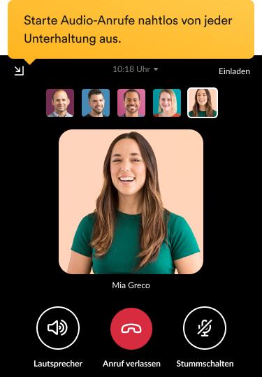 Team-Mitglieder, die einen Videoanruf über die Slack-Benutzeroberfläche führen.