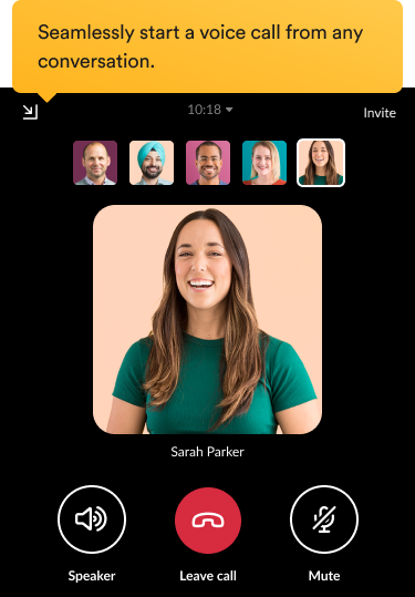 Teammates having a video call in the Slack interface.