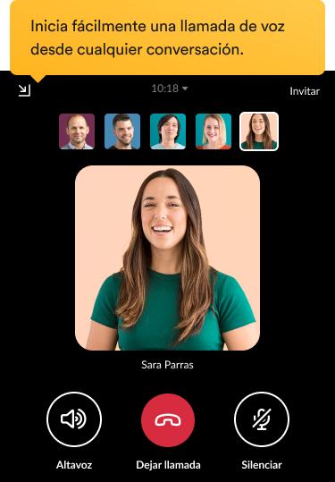 Compañeros de equipo participando en una llamada de vídeo en la interfaz de Slack.
