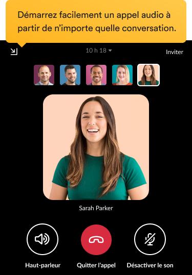 Des collègues qui participent à un appel vidéo dans l'interface Slack.