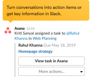 Prompt for creating a new task with the Asana integration in the Slack interface.