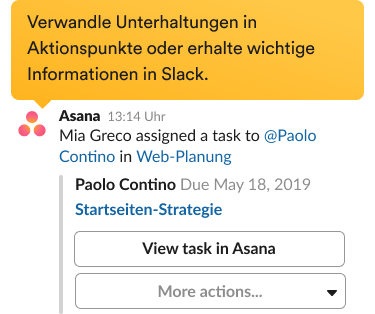 Aufforderung zum Erstellen einer neuen Aufgabe mit der Asana-Integration auf der Slack-Benutzeroberfläche..