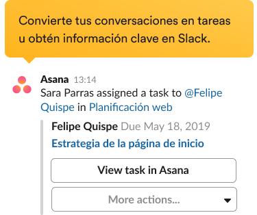 Aviso para que se cree una tarea nueva con la integración de Asana en la interfaz de Slack.