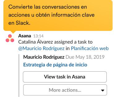 Ventana para crear una nueva tarea con la integración de Asana en la interfaz de Slack.