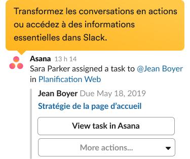 Une invite permettant de créer une tâche avec l'intégration Asana dans l'interface Slack.