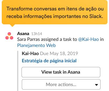 Solicitação para criar uma nova tarefa com a integração do Asana na interface do Slack.