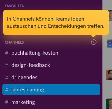 Team-Mitglieder, die eine Unterhaltung in einem Channel auf der Slack-Benutzeroberfläche führen.