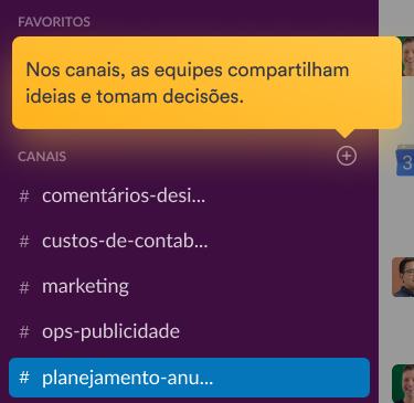 Colegas de equipe estão conversando em um canal na interface do Slack.