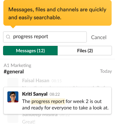Search results in the Slack interface, including relevant messages and search filters.