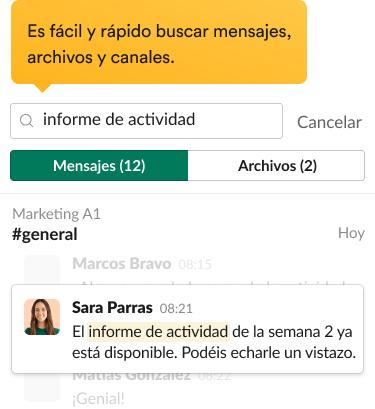 Resultados de búsqueda en la interfaz de Slack que incluyen mensajes relevantes y filtros de búsqueda.
